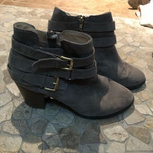 Express ankle booties grey faux suede w/ gold